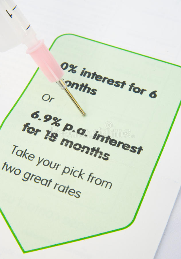 Injection of credit. A zero percentage credit offer is shown close up with a syringe and needle giving the picture the quality of injection.The image is royalty free stock photos