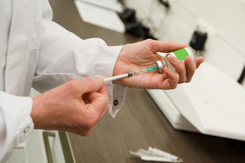 Injection for dog. A veterinarian preparing an injection for a cat royalty free stock image