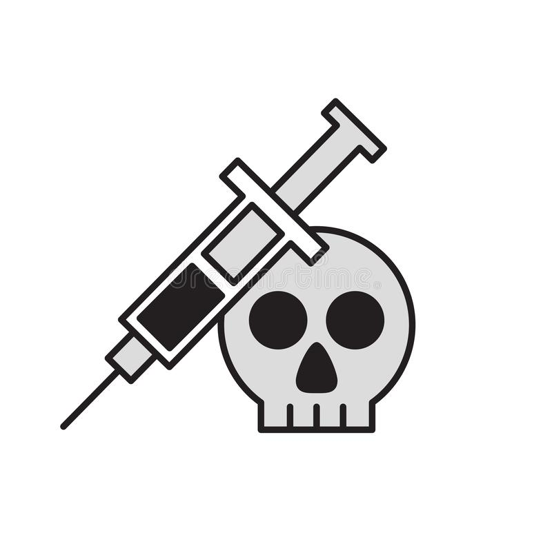 Injection syringe nd a scull. Flat design icon. Colorful flat vector illustration. Isolated on white background. vector illustration