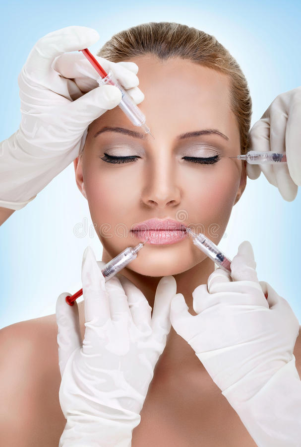 Injections of botox. Woman having beauty treatment