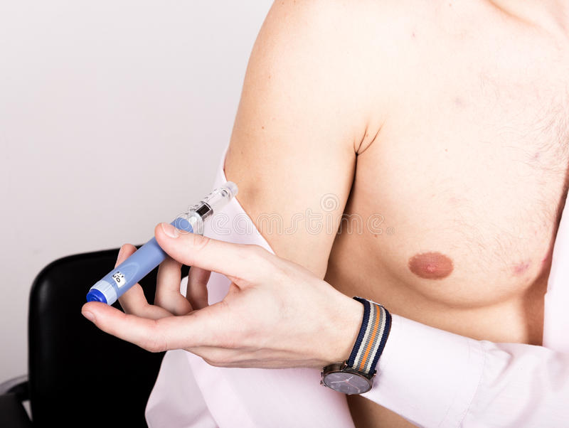 Injections of insulin to blood sugar disease. Diabetic Glycemic control. Dependent first type diabetes patient. Injections of insulin to blood sugar disease royalty free stock image
