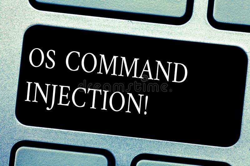 Injektion för handskrifttextOS Comanalysisd Begrepp som betyder attacktekniken som används för olagligt utförande av comanalysisd royaltyfria bilder