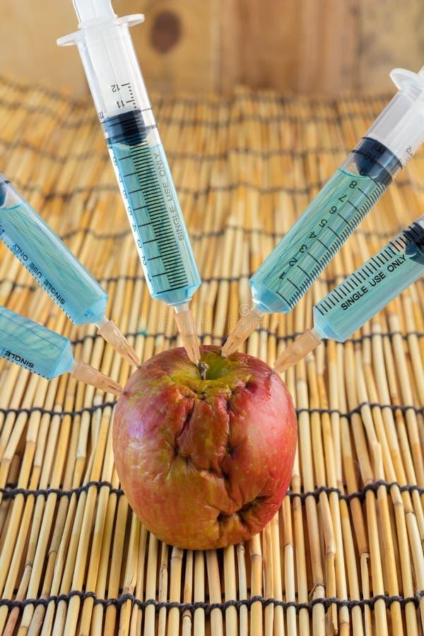 Injektion in i det röda äpplet - begrepp för genetiskt ändrad frui arkivbild