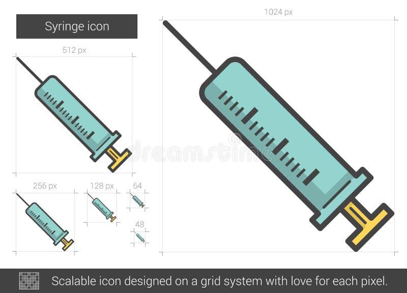 Injektionssprutalinje symbol vektor illustrationer