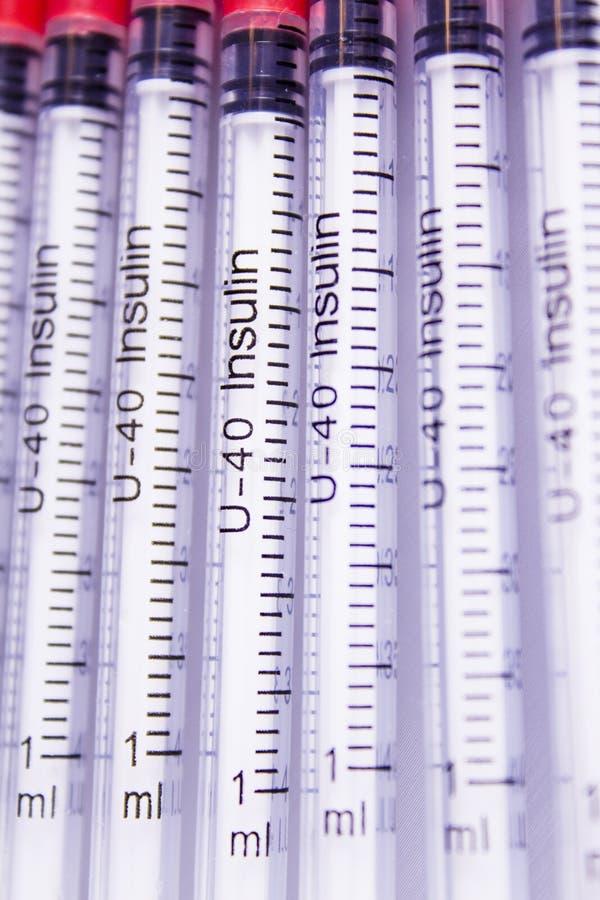 Injektionssprutor för insulin royaltyfria foton