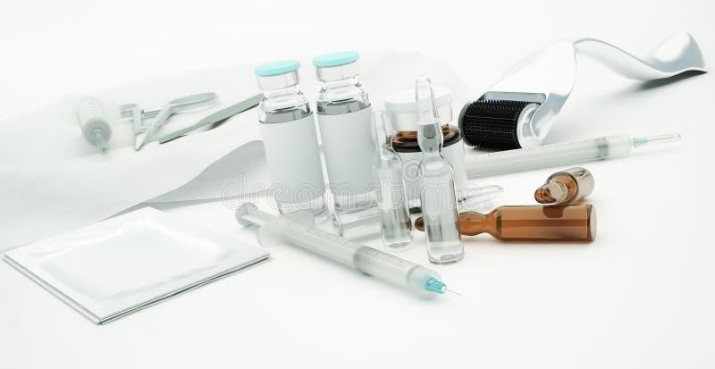 Injektionssprutor, glass små medicinflaskor och Derma rulle för rejuvenatin för hudomsorg royaltyfri illustrationer