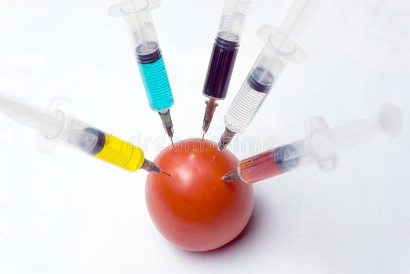 Injektionssprutor med grön, röd, gul svartvit flytande att göra en injektion in i en röd tomat på en vit bakgrund Begrepp av arkivbild