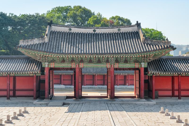 Injeongmun Gate of Changdeokgung Palace in Seoul, South Korea. Beautiful wooden gate of traditional Korean architecture. Changdeokgung Palace is a popular stock photo