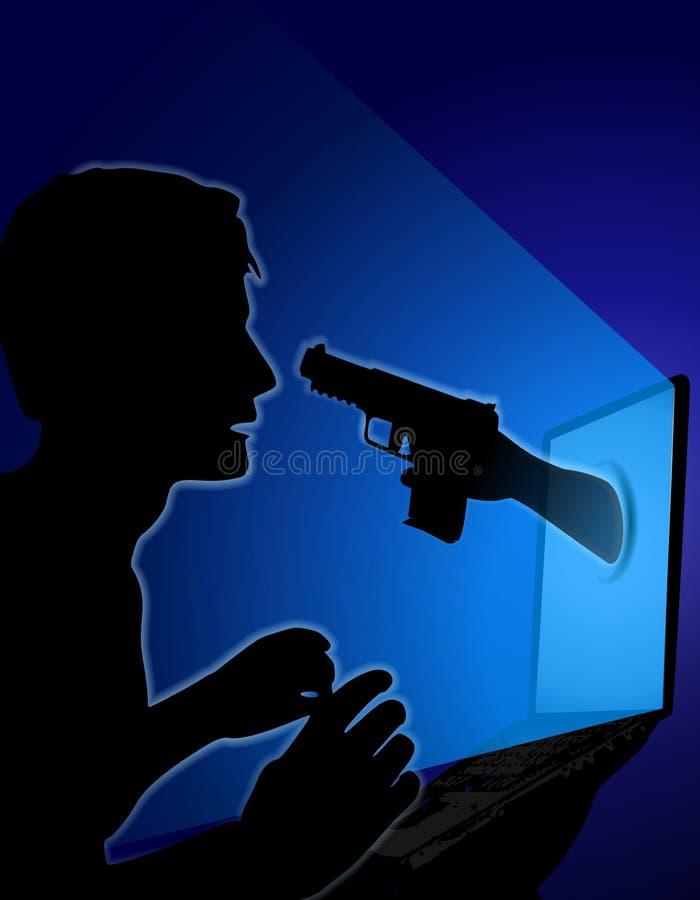 Injetor da mão das ameaças da segurança do Internet ilustração royalty free
