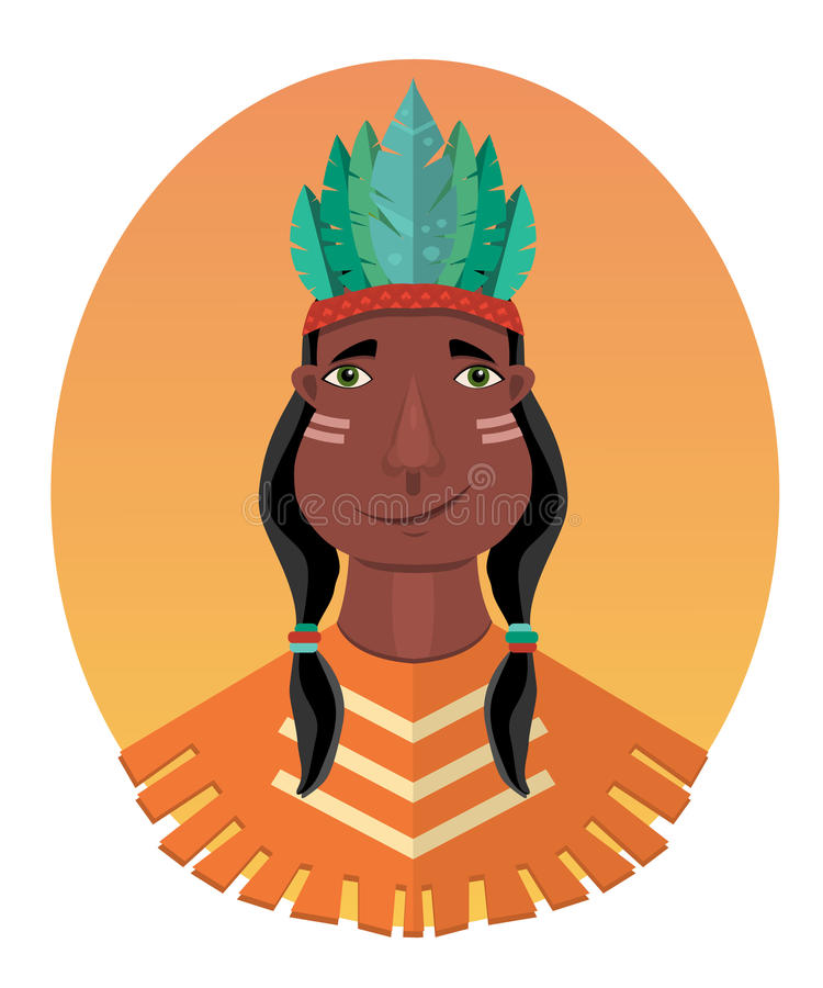 Injun character. Native american, feather and culture tribal, chief human, flat vector illustration stock illustration