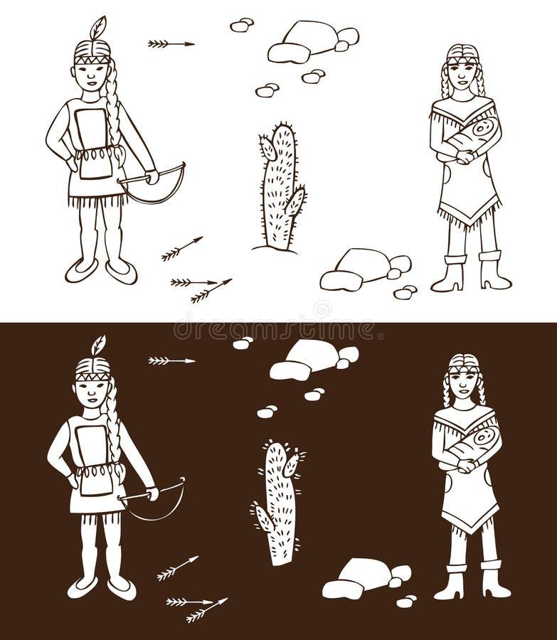 Injuns Dziki zachód royalty ilustracja