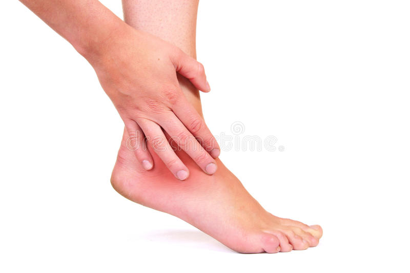Injured ankle royalty free stock photos