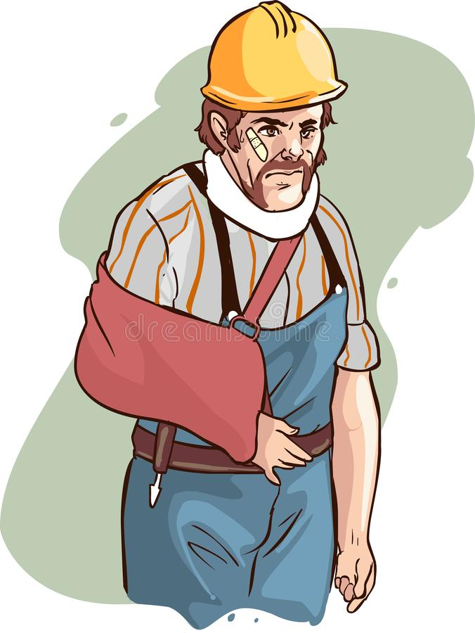Injured builder with broken arm vector image stock photos