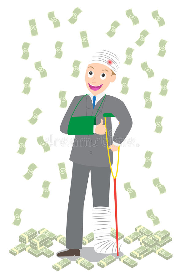 Injured businessman in bandages and crutches with dollar pile and falling money. Injured businessman in bandages and crutches with pile of dollar and falling vector illustration