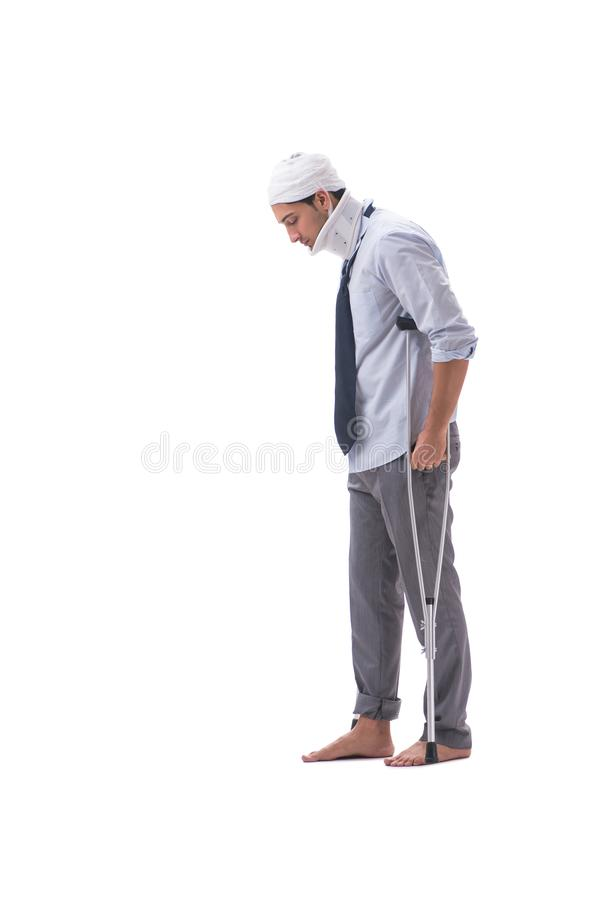 The injured businessman isolated on white background stock images