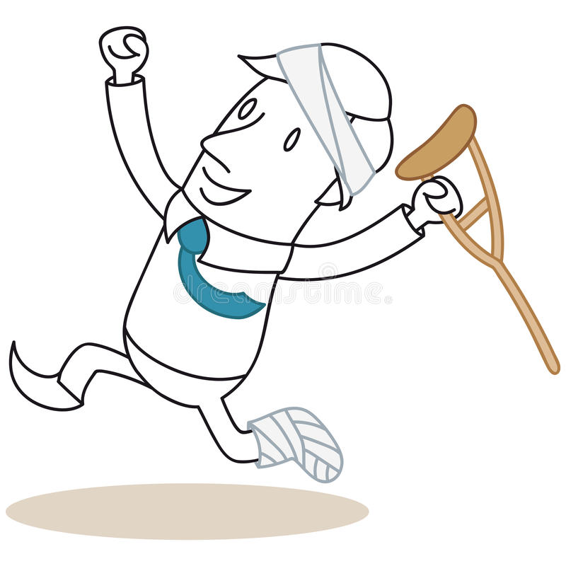 Injured businessman jumping happily vector illustration