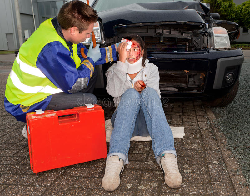 Injured in a car accident stock photos