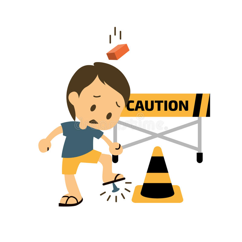 Injured cartoon Health and safety. Safety and accident character. Trauma and brick on head, Injuring A Foot. Vector illustration stock illustration