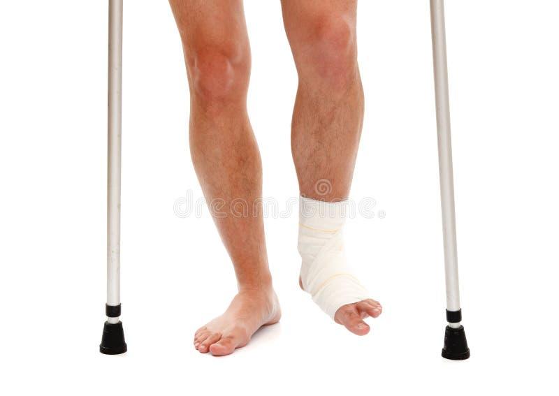 Injured leg stock photos