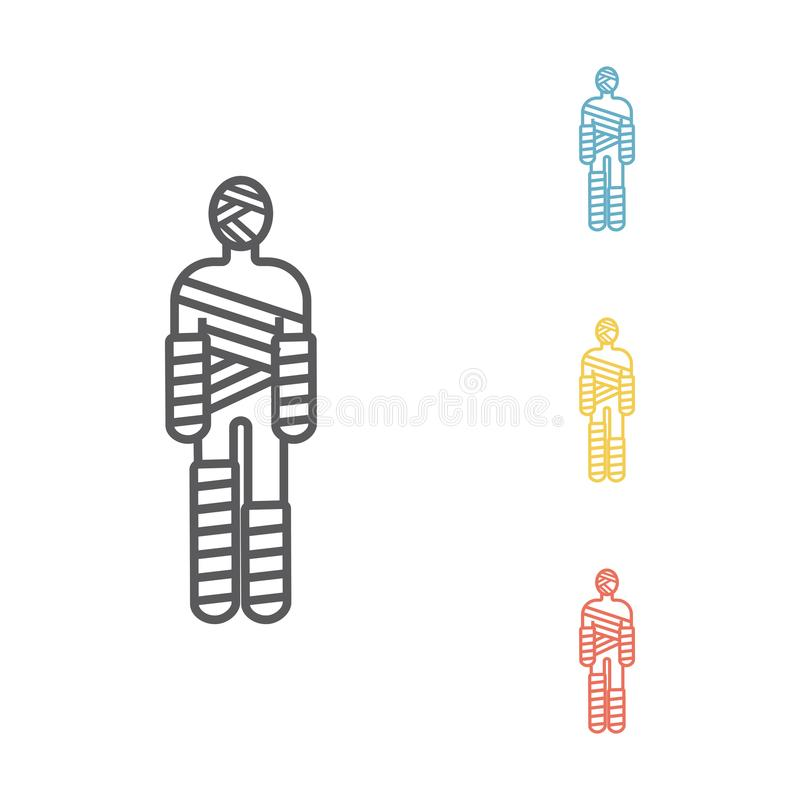 Injured man in bandages line icon. Injured man in bandages Vector signs for web graphics vector illustration