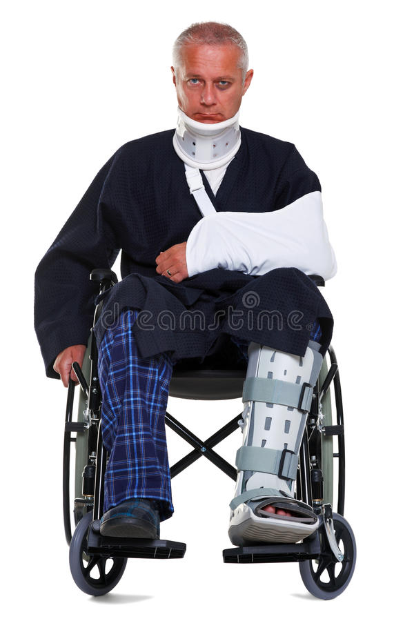 Injured man isolated on white royalty free stock photography