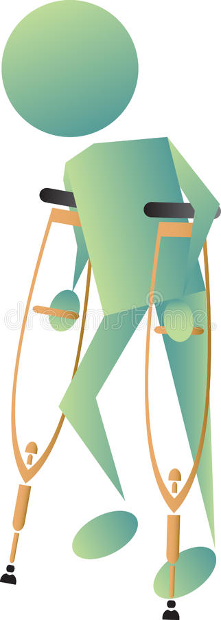Injured man walking stock images