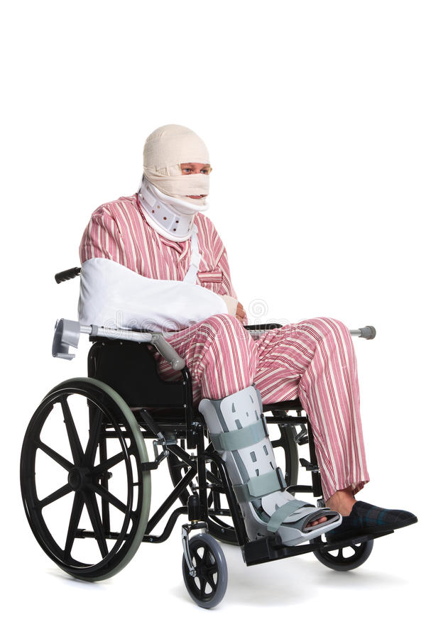 Injured man in a wheelchair side view