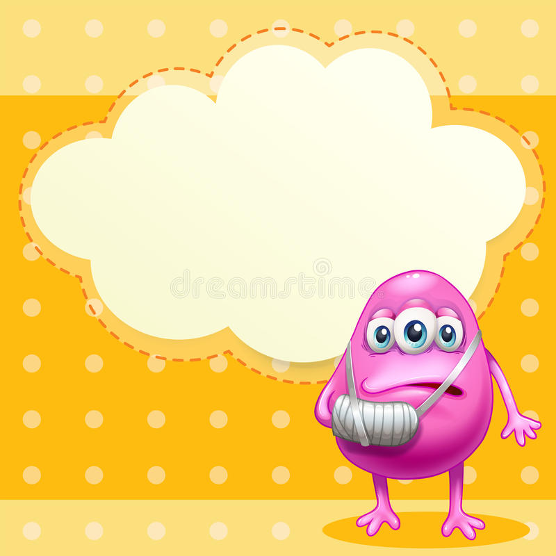 An injured monster near the empty cloud callout stock illustration
