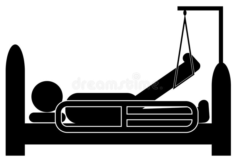 Injured person in hospital bed stock illustration