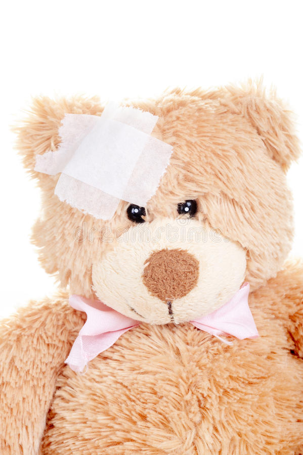 Injured Sweet Teddy Bear Royalty Free Stock Photo
