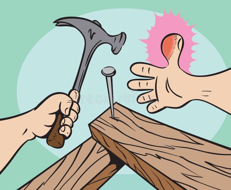 Injured thumb royalty free illustration