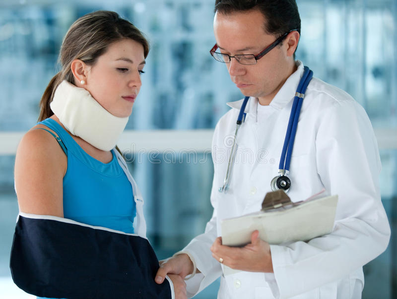 Download Injured Woman With A Doctor Stock Photo - Image of collar, female: 21135580