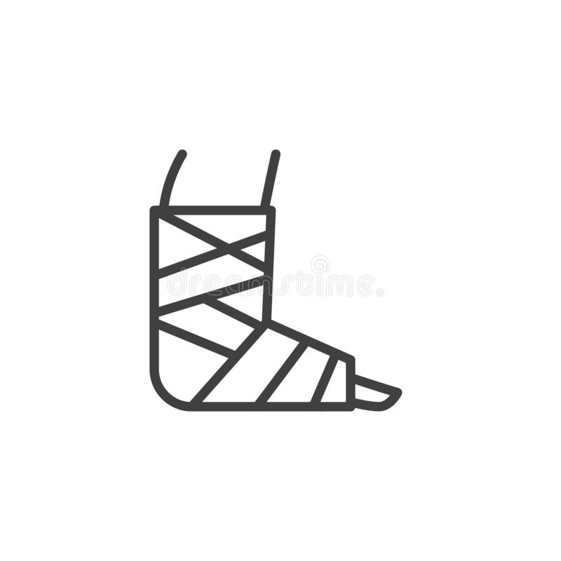 Injury Ankle with bandage line icon. Linear style sign for mobile concept and web design. Broken foot with bandage outline vector icon. Symbol, logo royalty free illustration