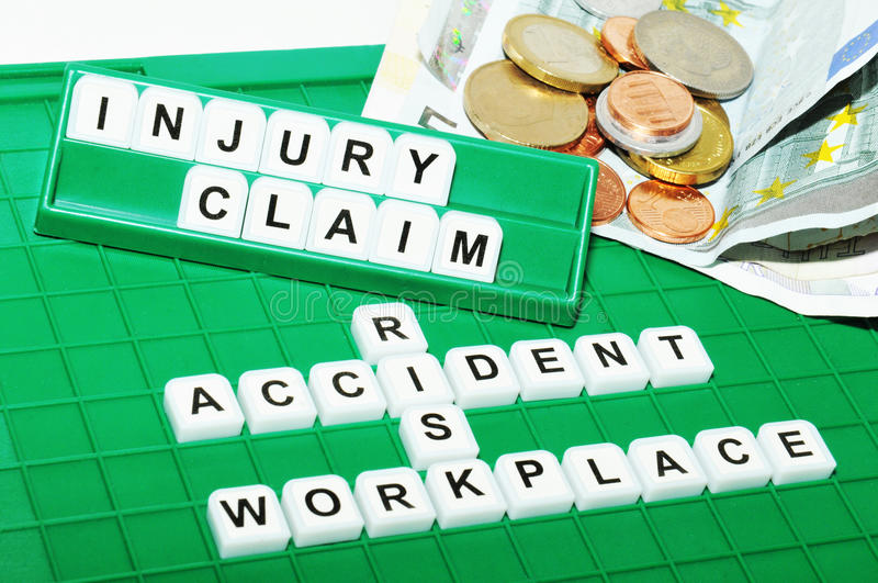 Injury claim. Concept with key words and cash compensation stock image