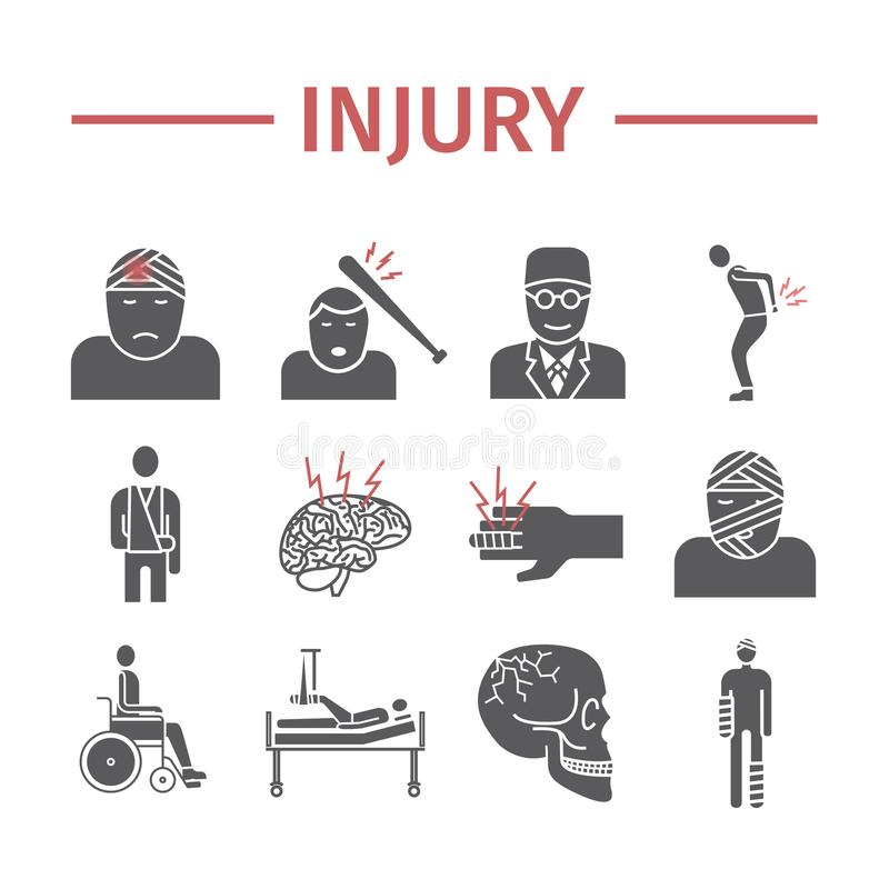 Injury flat icons set. Infographic. Vector signs for web graphics. royalty free illustration