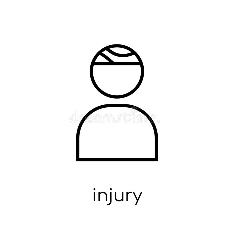 Injury icon. Trendy modern flat linear vector Injury icon on white background from thin line Health and Medical collection royalty free illustration