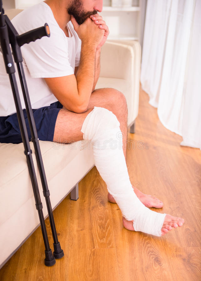 Injury man in doctor royalty free stock images