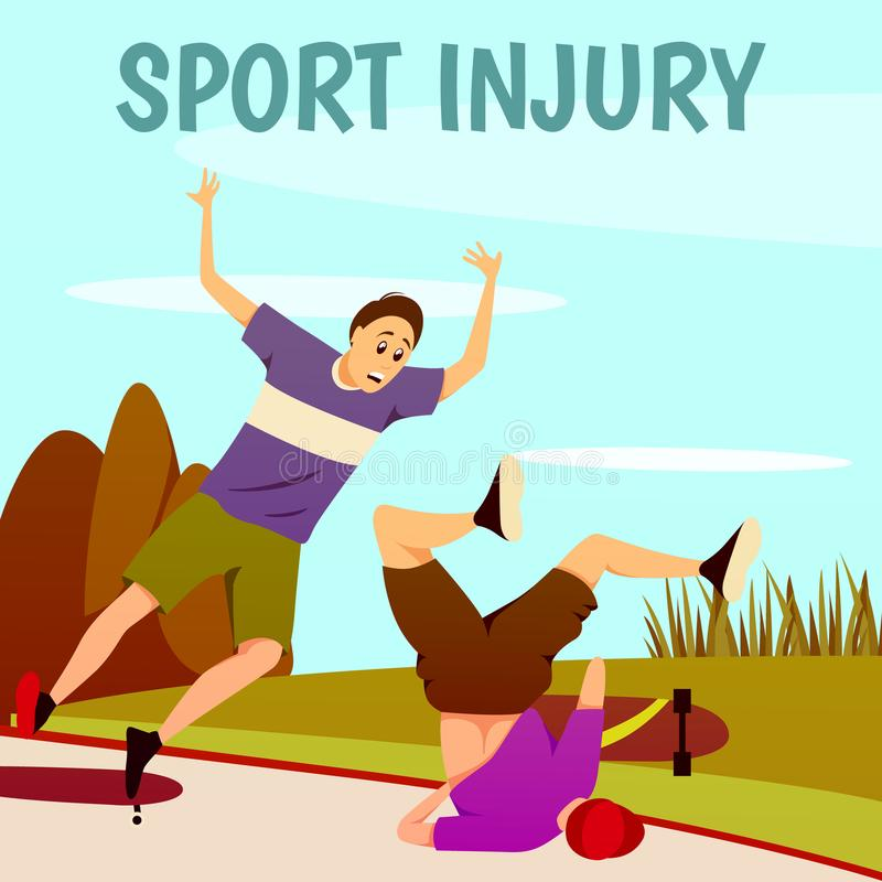 Injury To Skaterboarders Background vector illustration
