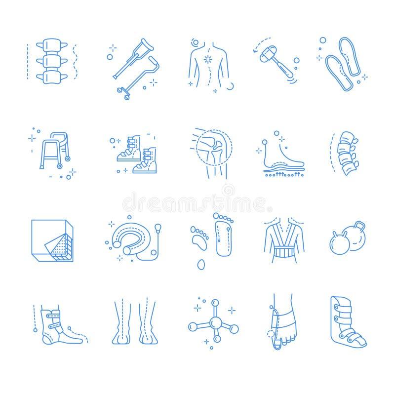 Injury or trauma rehabilitation and orthopedics isolated linear icons royalty free illustration