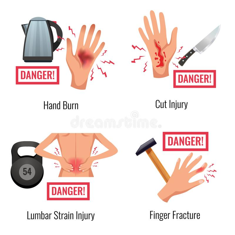 Injury Warning Flat Compositions stock illustration
