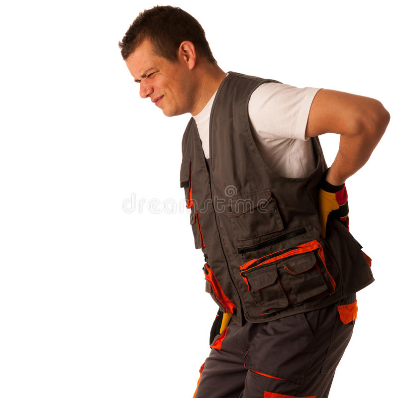 Injury on work - construction worker suffering hard pain. In his back stock photo
