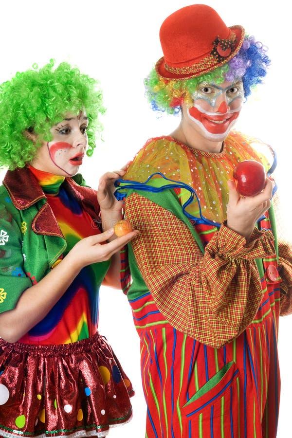 Injustice dans le monde des clowns images libres de droits