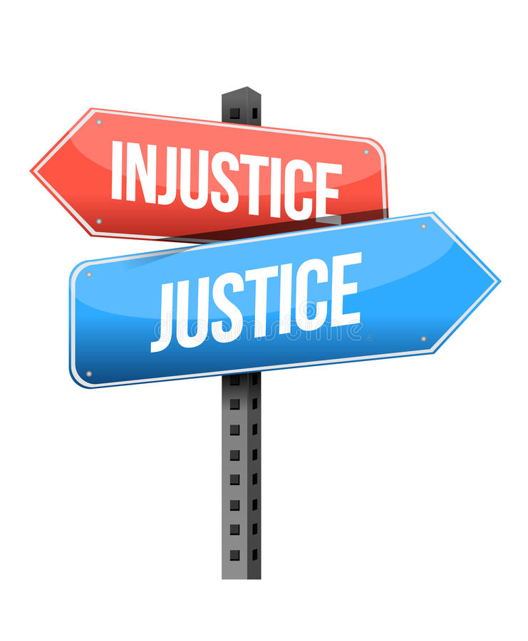 Injustice versus justice road sign royalty free illustration