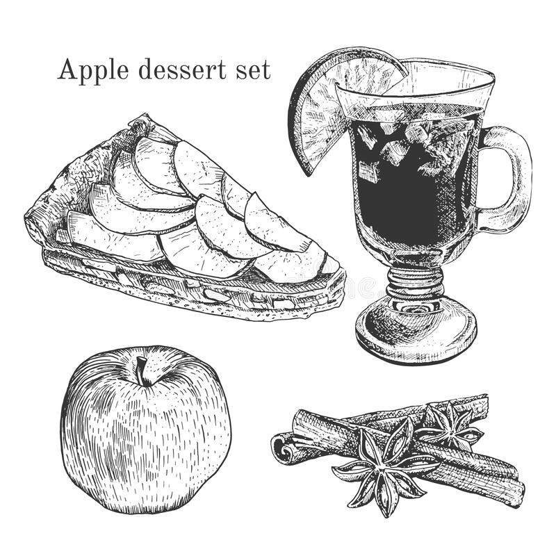 Ink apple dessert set with apples, cinnamon, vanilla. Ink apple dessert set cinnamon, vanilla. Outline engraving traditional stile. It can be used like design vector illustration
