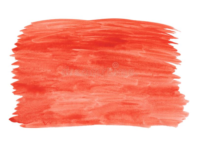 Abstract texture brush ink background red aquarell watercolor splash paint on white background. Ink background red aquarell watercolor splash paint on white stock photo