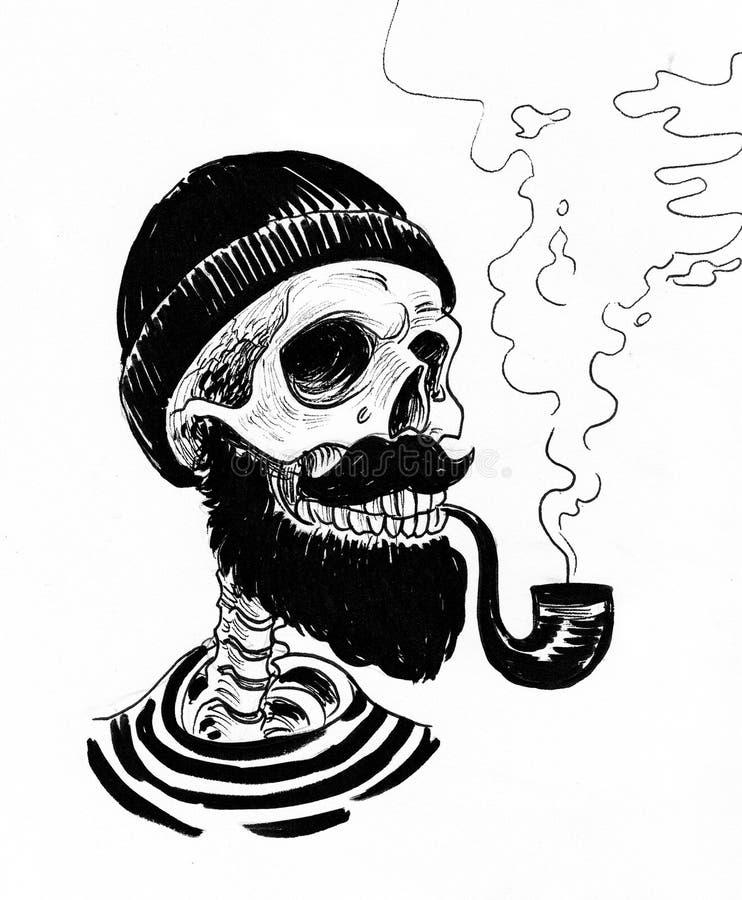 Pirate skeleton smoking a pipe vector illustration