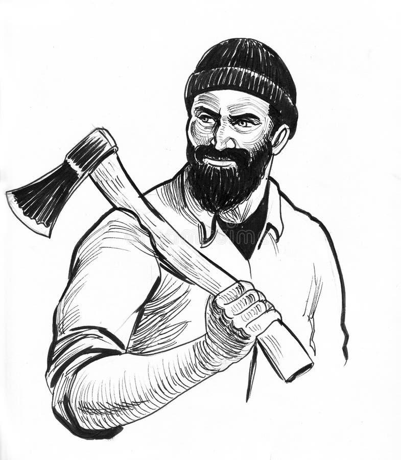 Bearded lumberjack royalty free illustration