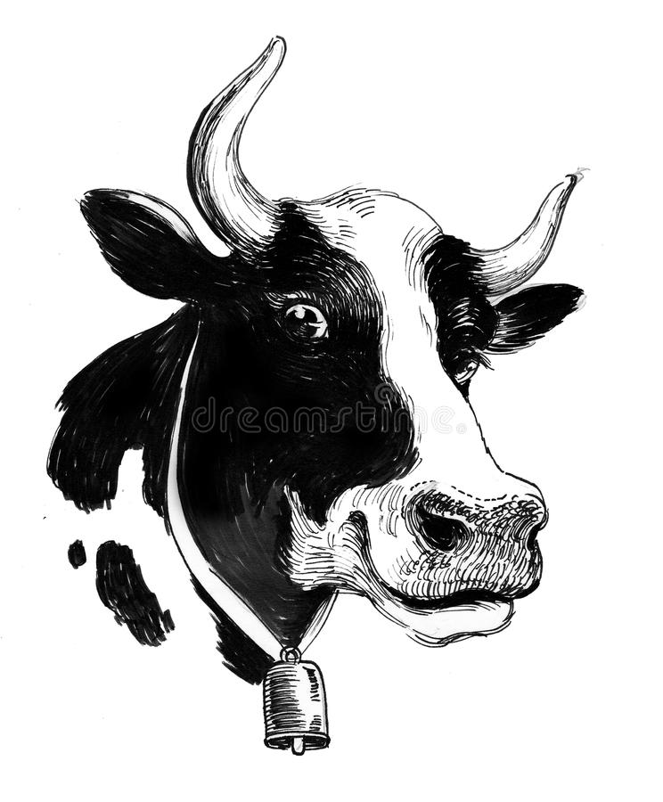 Ink sketch of a cow royalty free illustration