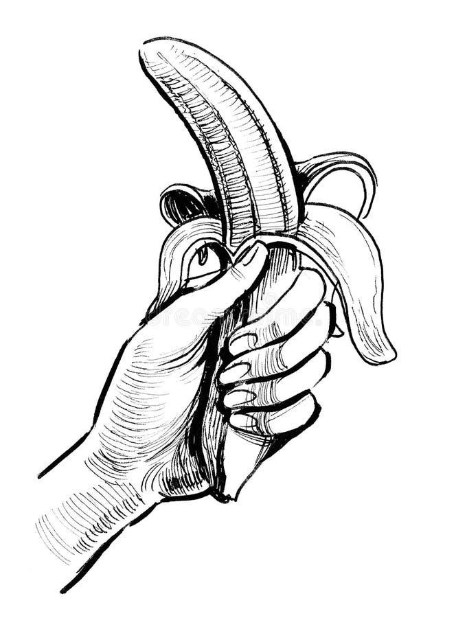 Hand and banana royalty free illustration
