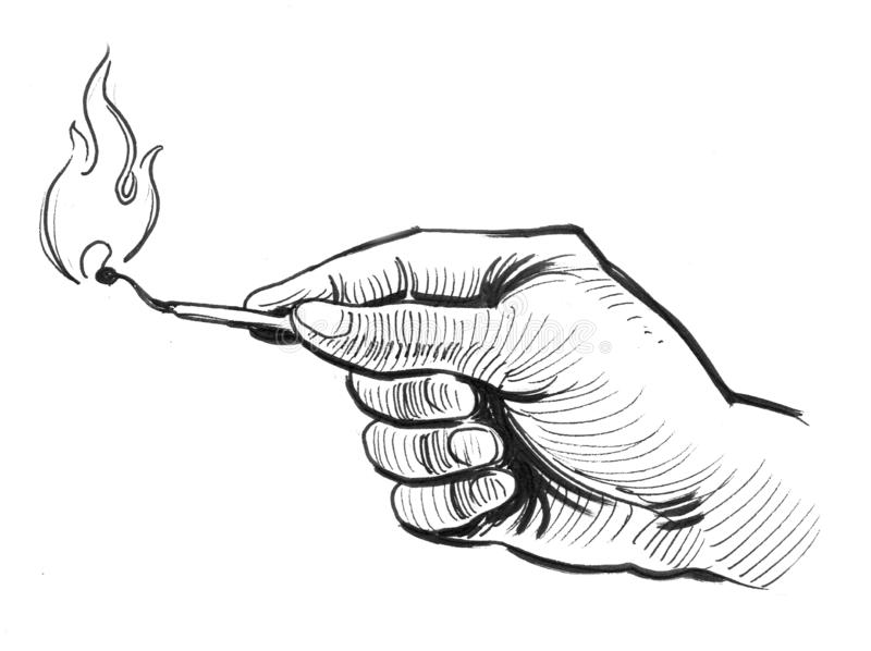 Hand and match stock illustration